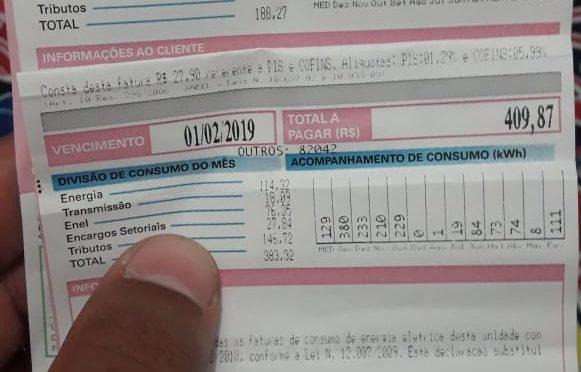 MORADOR DE PÁDUA RECLAMA DA COBRANÇA ABUSIVA POR PARTE DA ENEL