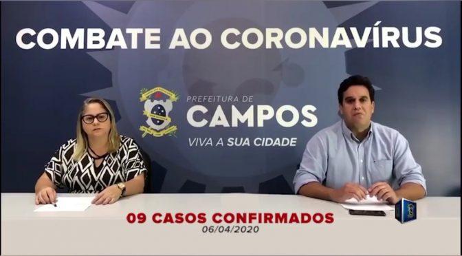 Campos tem 9 casos confirmados sendo 5 em estado grave