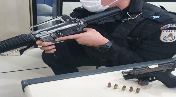 Indivíduo de 19 anos é preso com arma de fogo em Miracema, o mesmo estava portando o armamento na laje de uma residência